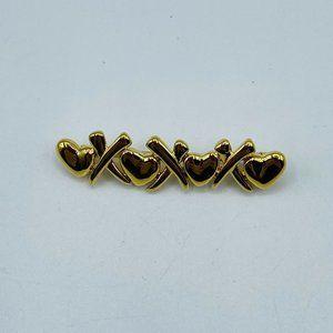 Monet XOs Hearts Gold Tone Vintage Brooch